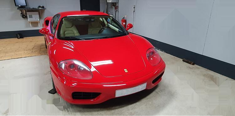 Ferrari 360 behandlet hos Bilpleje Hadsten